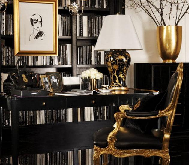Decorul in negru si auriu, Foto: roomdecorideas.eu