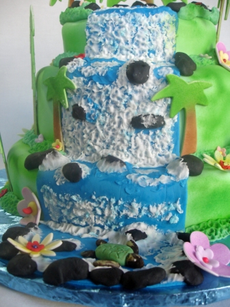 Hawaiian Tiered Waterfall Birthday Cake
