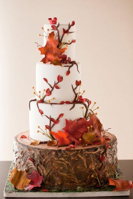 Tort ideal pentru nunta in timpul toamnei Foto:www.fleurcakes.com