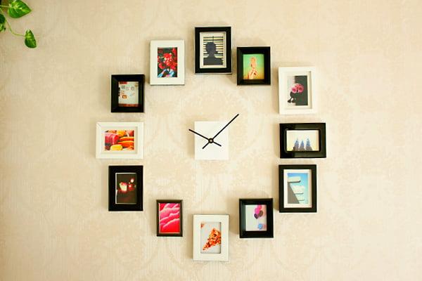 Ceas de perete realizat din fotografii. Foto: blog.hgtv.com
