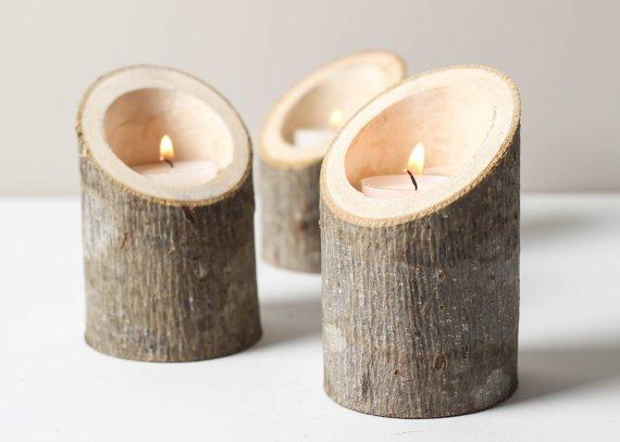 Lumanari in lemn, Foto: lostandfawned.com