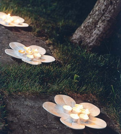 Lumanari pentru decorarea gradinii Foto: www.shelterness.com