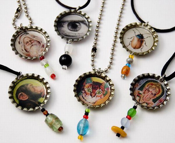 Reciclare creativa: capace transformate in pandantive www.jelisava.com