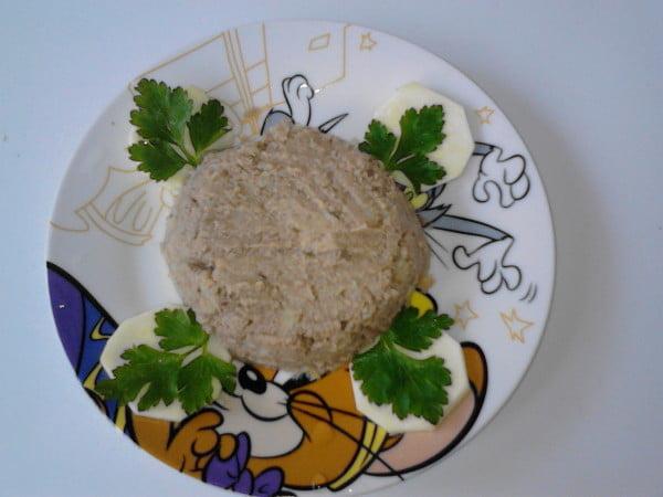 Piure de dovlecel, cartof si ficatel de pui