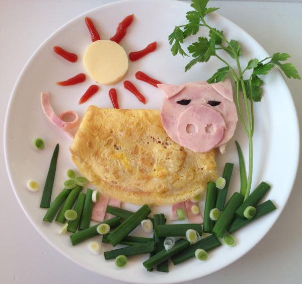 Mic dejun pentru copii - Omleta porcusor