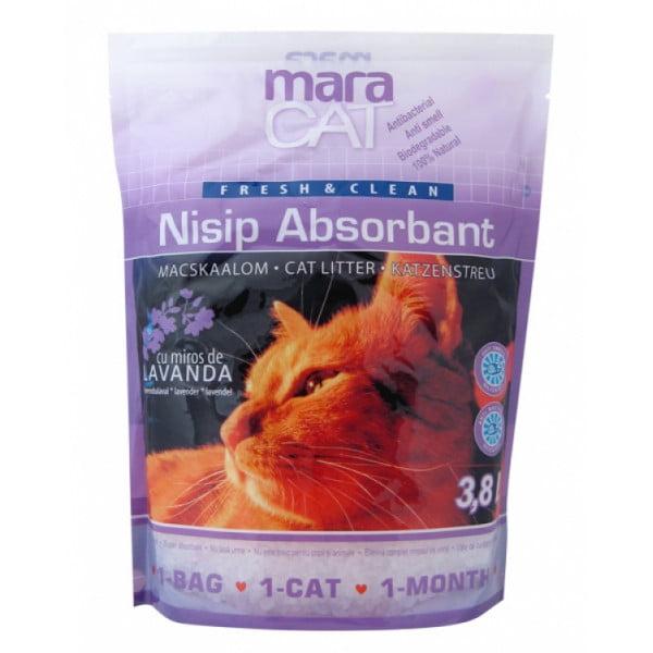 Nisip pentru pisici Maravet Maracat, absorbant Silicat Lavanda