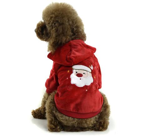 Hanorac roșu personalizat cu Moș Crăciun pentru câine, Foto: modacani.it