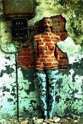 Camuflaj pe un perete vechi