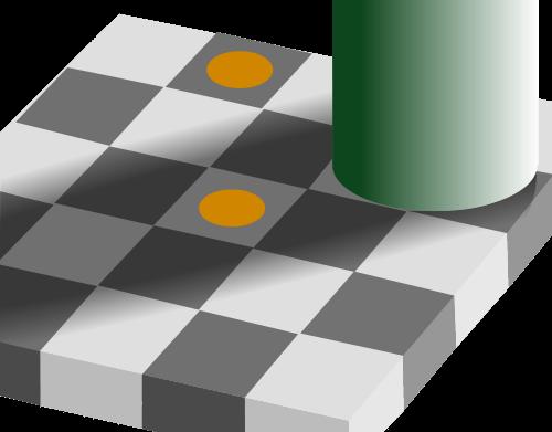 Culori identice văzute diferit pe pătrate