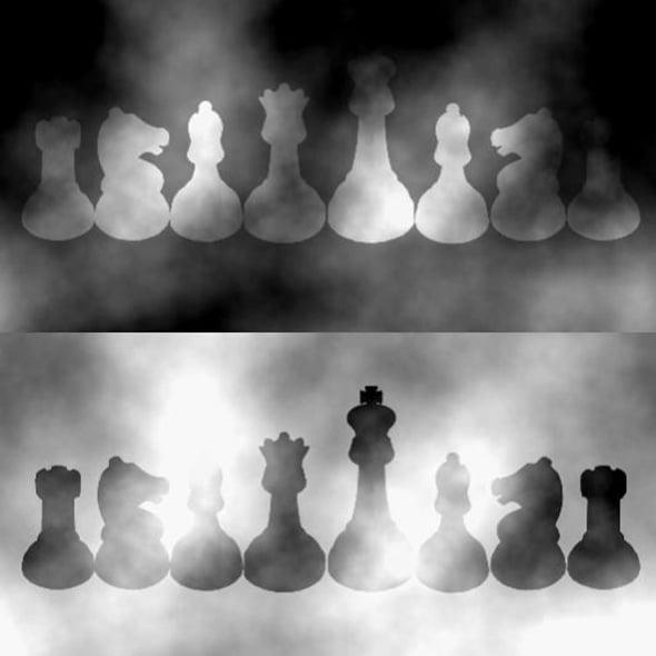 Piesele de șah au aceași nuanță