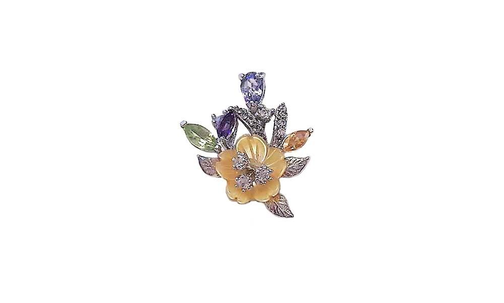 pandativ floare cu pietre multicolore
