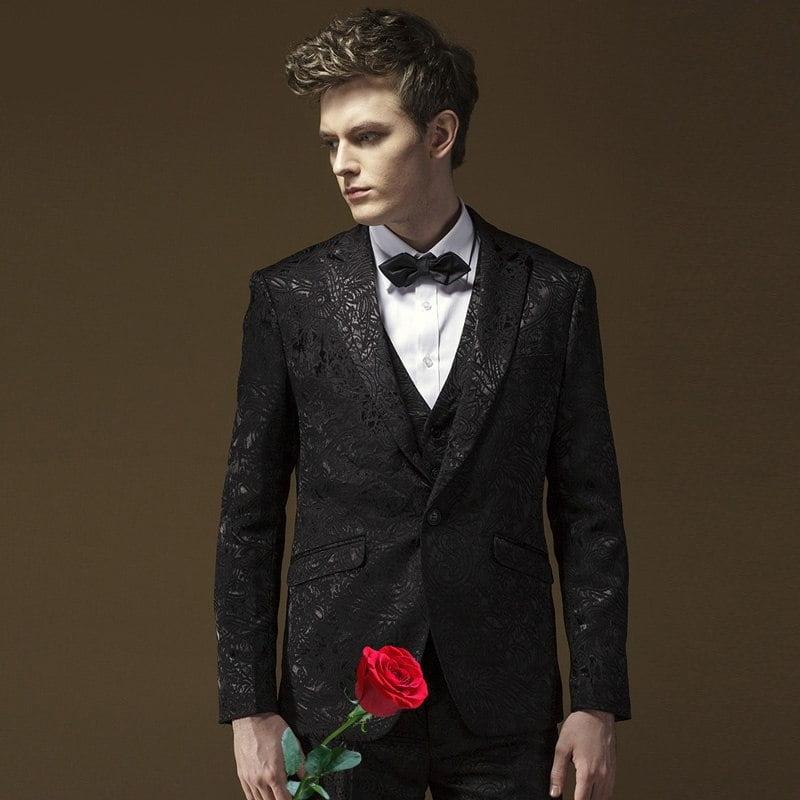 Costum negru Jacquard